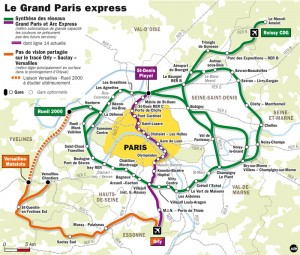 Grand Paris Express layout in Ile-de-France