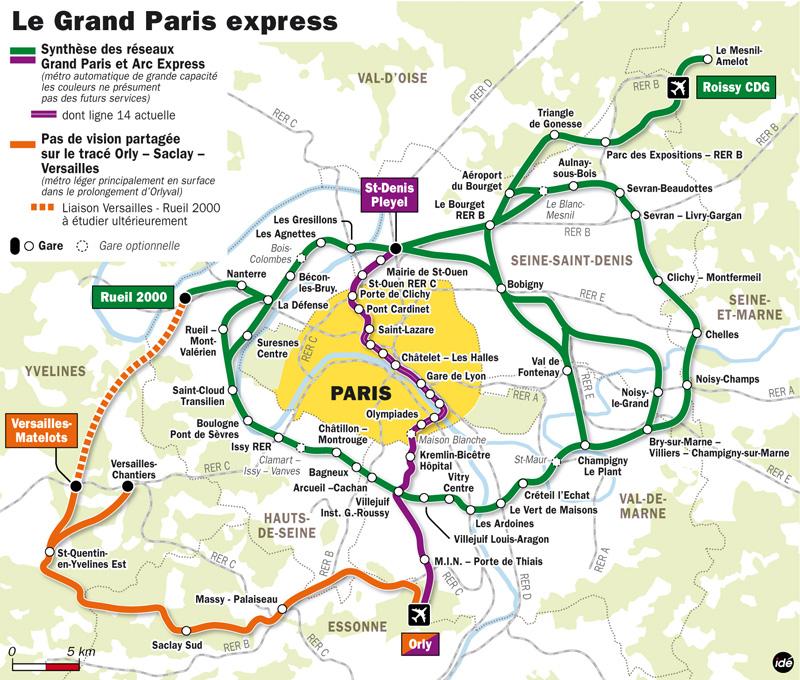 Grand Paris Express layout in Ile-de-France