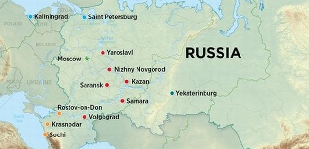 Hosting two major sports events russia urbanplanet russia world cup 2018 cites location map gumiabroncs Gallery