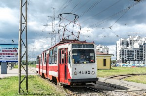 The tramway of the Baltic Pearl in St Petersburg