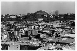 View from the shanty towns of Nanterre in front of the CNIT shortly after its construction