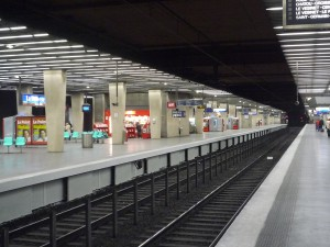 Underground RER station in La Défense
