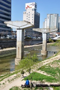 Pilars of the Cheonggyecheon Expressway in Seoul