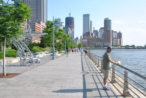 The West Street Hudson Park in Manhattan, New York