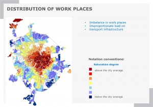The distribution of work places in Moscow