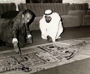 Sheikh Zayed and Abdulrahman Makhlouf on the masterplan for Abu Dhabi 1970s