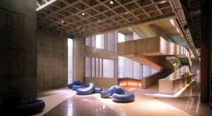 Treppenhaus und Loungebereich im Centre National de la Danse