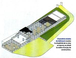 Die Isometrie zeigt die Einfachkeit des Bauwerks - wie im Baukastenprinzip setzt sich das Gebäude aus den Steinen zusammen