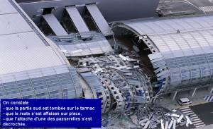 Abbildung der eingestürzten Deckenkonstruktion des Terminals