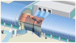 Nachbildung des Einsturzes der Deckenkonstruktion