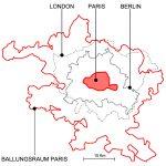 Vergleich der Flächen von Paris, London, Berlin