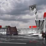 Das Forschungszentrum Wismar. Entwurf und 2D-Plan vom Atelier Jean Nouvel, Bearbeitung und 3D-Darstellung von Artefactory, 2001
