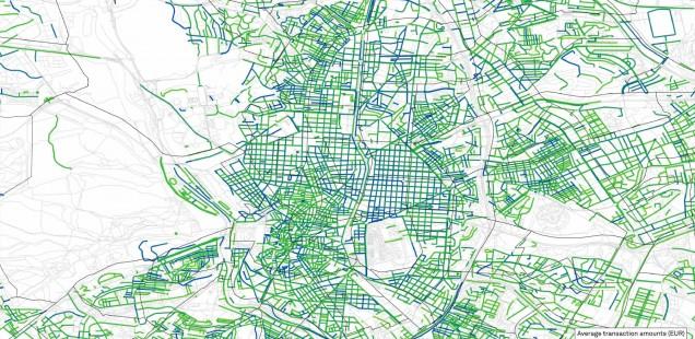Average transaction per street in Madrid