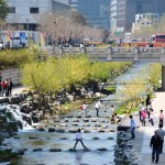 The Cheonggyecheon river in Seoul after transformation