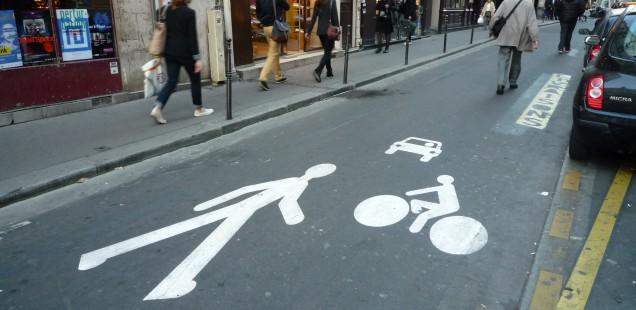 Pedestrian Priority Street in Paris